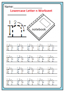 Lowercase n Worksheet for Kindergarten and Preschool