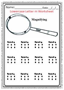 Trace Lowercase Letter M Worksheet for Kindergarten and Preschool