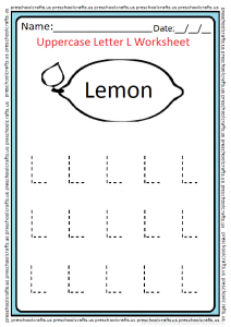 Trace Uppercase Letter L Worksheet for Preschool and Kindergarten