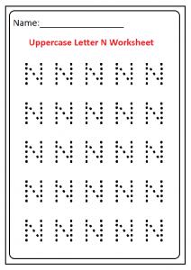 Trace the Uppercase Letter N Worksheet Kindergarten and Preschool