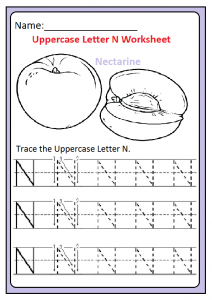 Trace the Uppercase Letter N Worksheet for Kindergarten and Preschool