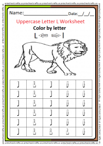Uppercase Letter L Color Worksheet for Preschool and Kindergarten