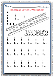 Uppercase Letter L Trace Worksheet for Preschool and Kindergarten