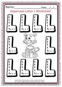 Uppercase Letter L for Preschool and Kindergarten Trace Worksheet