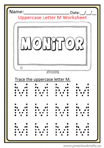 Uppercase Letter M Trace Worksheet Preschool and Kindergarten