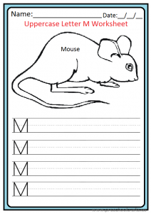 Uppercase Letter M Worksheet for Preschooler and Kindergartener