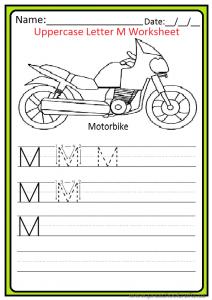 Uppercase Letter M Write Worksheet for Kindergarten and Preschool