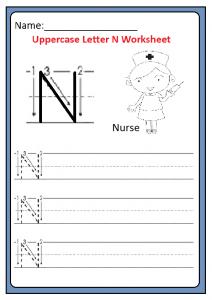 Uppercase Letter N Trace Worksheet for Kindergarten and Preschool
