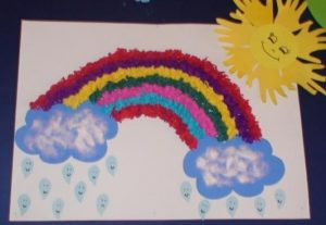 kindergarteners spring rainbow craft idea