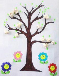 popcorn spring tree craft idea for preschool