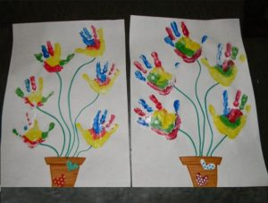 spring colored hand print crafts for kids