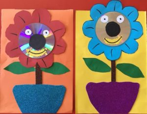 spring flower craft idea by recycle cd for kindergarten