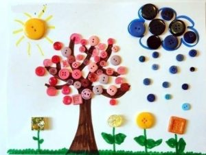 spring themed craft idea by colored buttons for kids