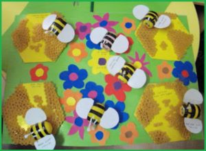 spring themed kids craft idea by pasta, black electric bands and surprise eggs