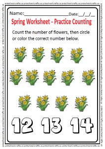 Spring themed counting worksheet for preschool and kindergarten