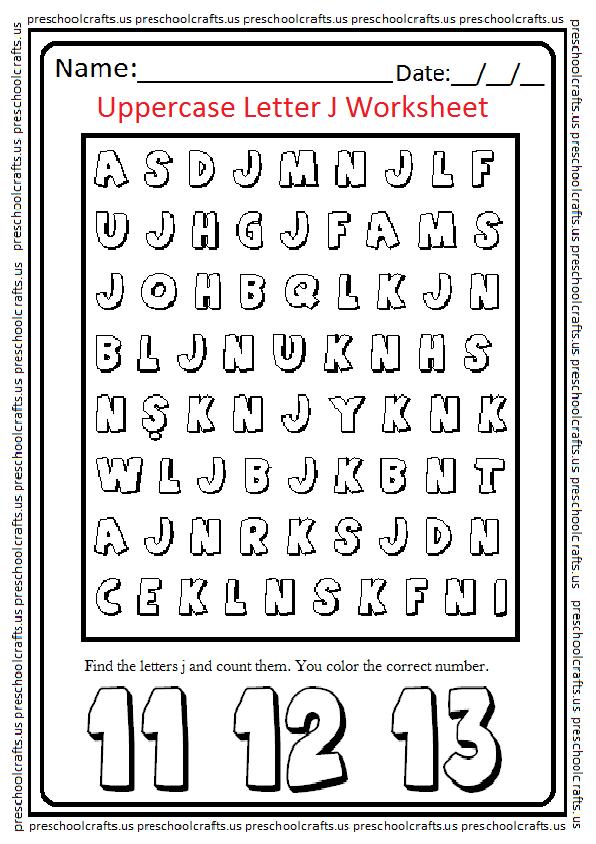 Letter J Worksheet for Preschool and Kindergarten