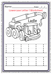 Lowercase Letter l Tracing Worksheet for Preschool and Kindergarten