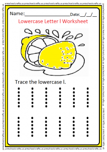 Lowercase Letter l Worksheet for Preschool and Kindergarten