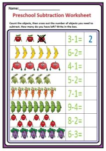 Preschool Subtraction Worksheet 1 - Fruits and Vegetable Themes Free Printable