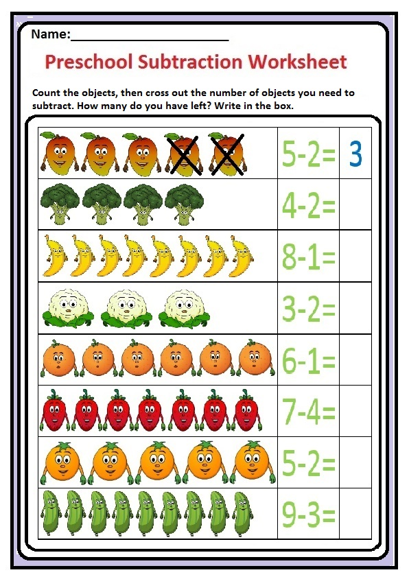 Preschool Subtraction Worksheet - Fruits and Vegetable Themes Free Printable