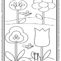 Addition worksheet for preschool and kindergarten for Spring themed coloring pages