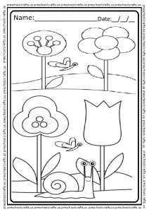 Spring Themed Coloring Page for Preschool and Kindergarten
