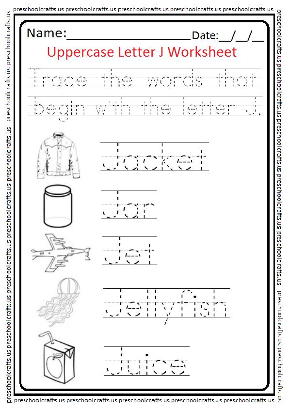 Uppercase Letter J Tracing Worksheet Preschool and Kindergarten