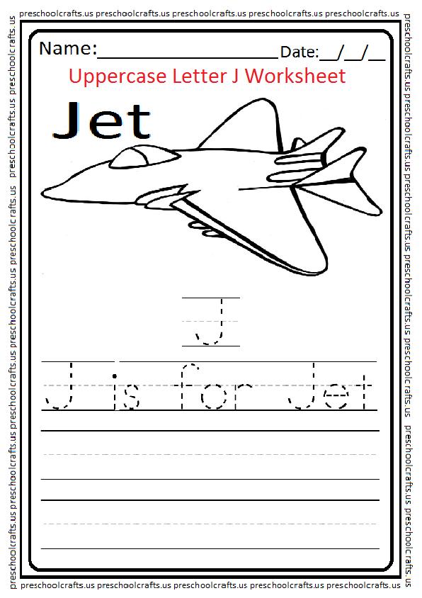 Uppercase Letter J Worksheet for Preschool and Kindergarten J is for Jet