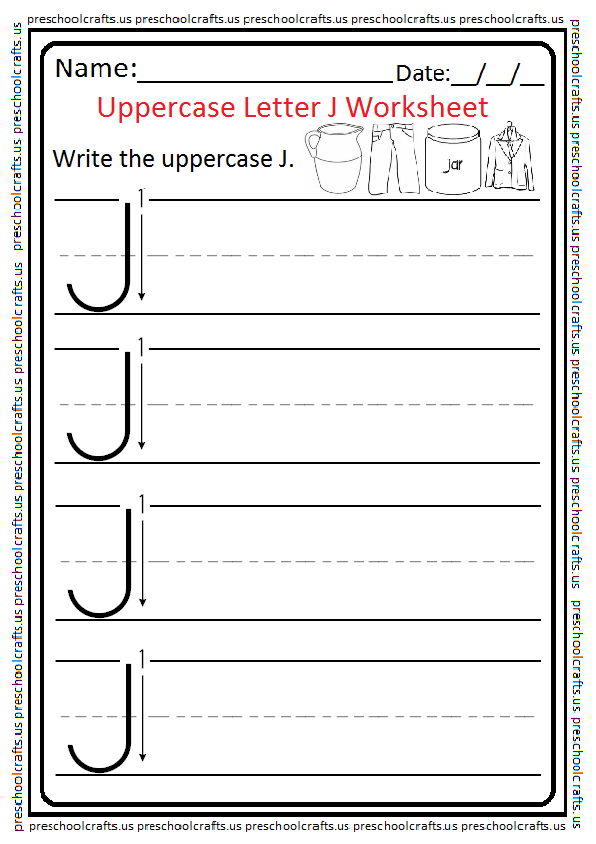 Uppercase Letter J Writing Worksheet for Preschool and Kindergarten