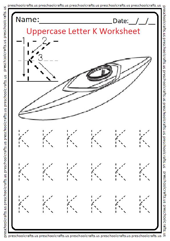 Uppercase Letter K Tracing Worksheet for Preschool and Kindergarten Free Printable
