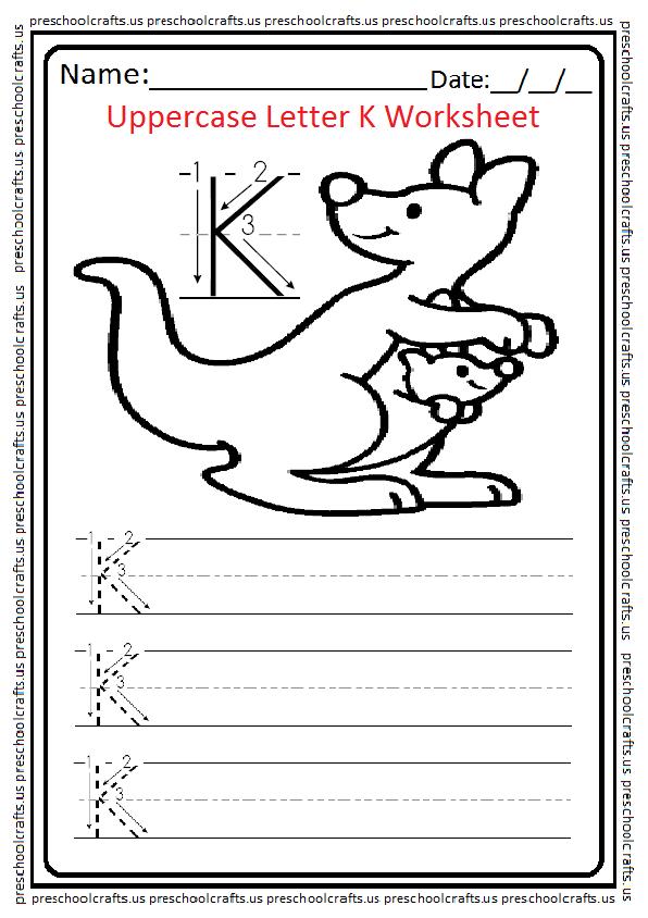 Uppercase Letter K Writing Worksheet for Preschool and Kindergarten Free Printable