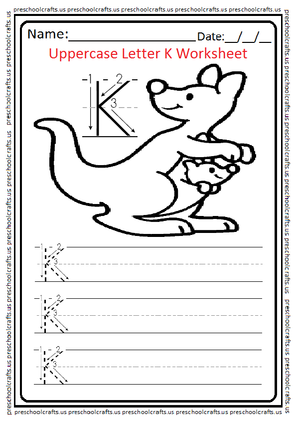 Uppercase Letter K Worksheets / Free Printable - Preschool ...