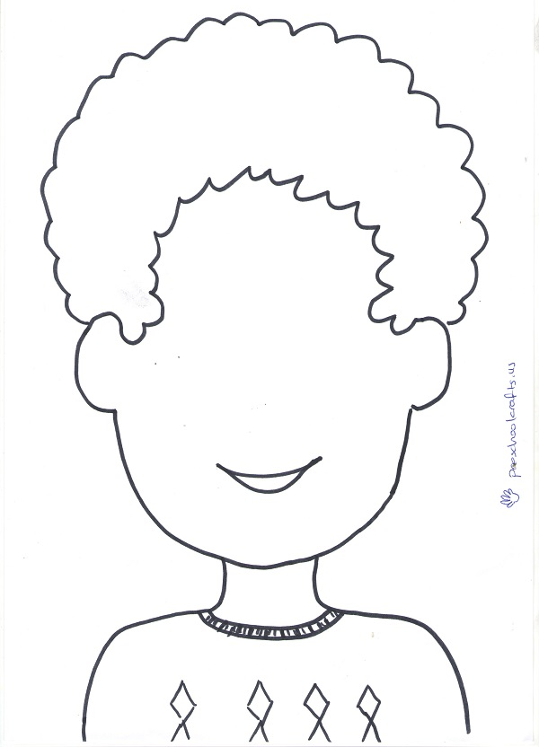 curly hair kids face template for craft ideas