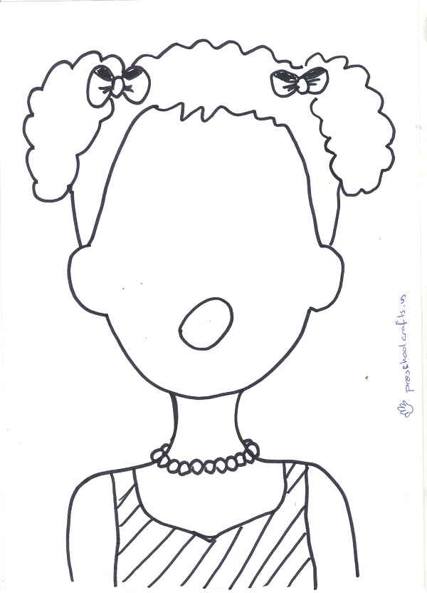 curly hair kids template for creative activity ideas