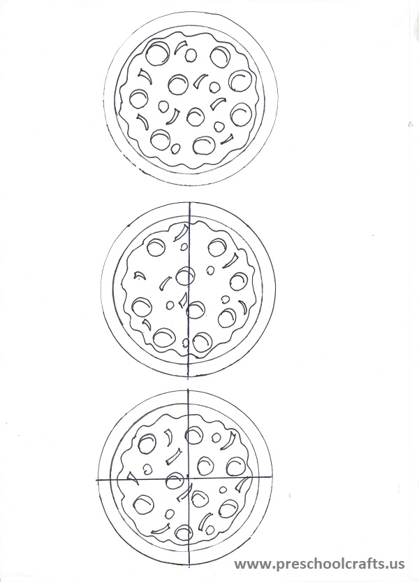 fraction craft activity pizza template for 3 rd grade