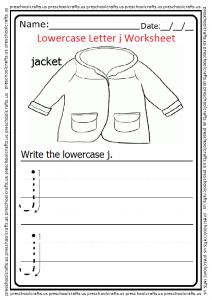 Lowercase Letter J Tracing Worksheet for Preschool and Kindergarten