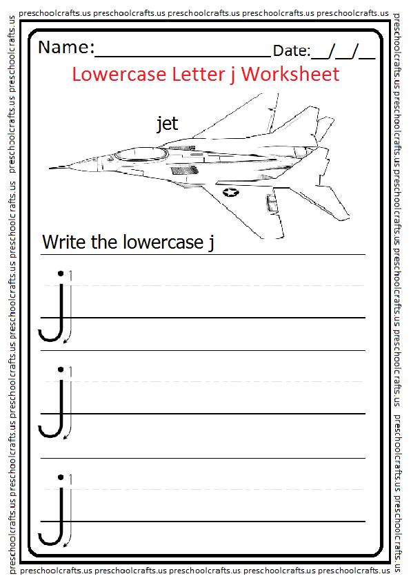 Lowercase Letter J Worksheet Write the j