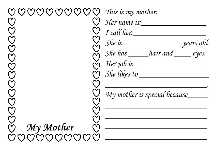 Mothers Day Worksheet free printable