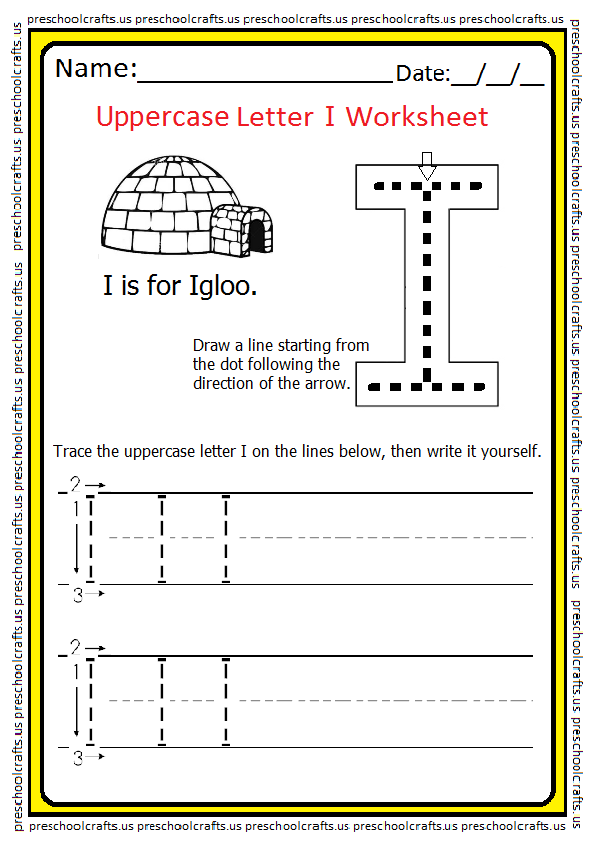 Tracing Uppercase Letter I Worksheet