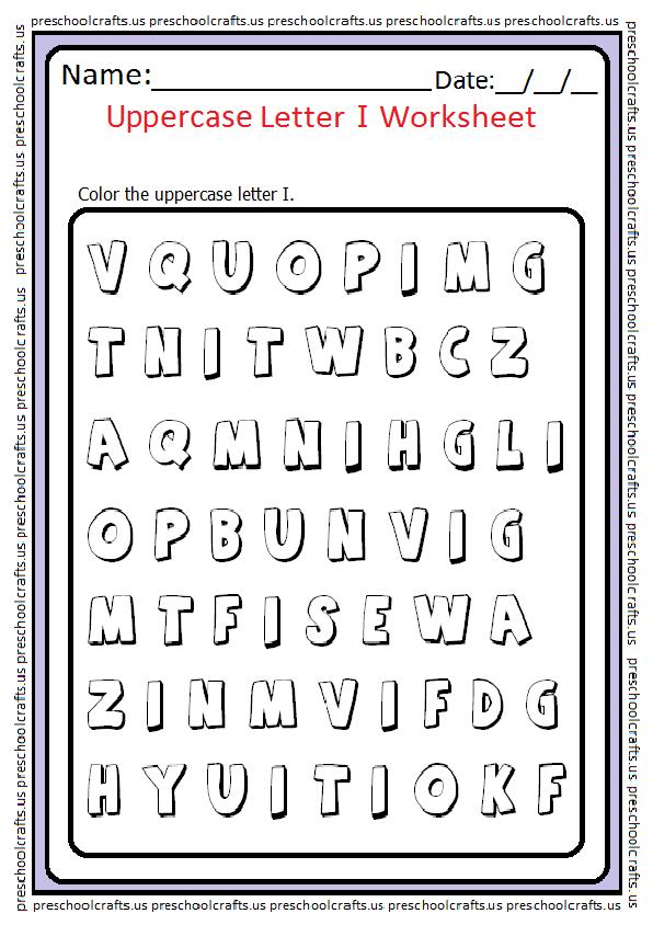 Uppercase Letter I Coloring Worksheet
