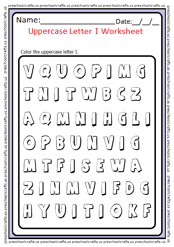 Uppercase Letter I Coloring Worksheet