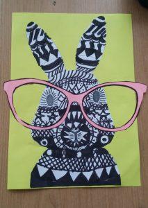 preschool spectacled cute bunny craft idea