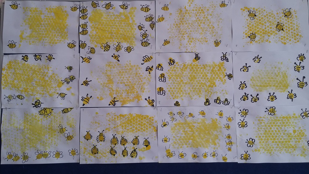 preschool bee and honeycomb bulletin board idea