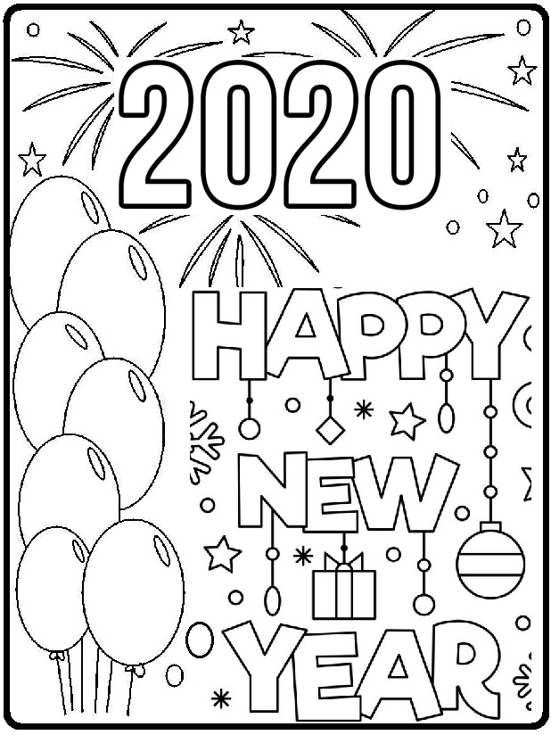 new year coloring pages for preschoolers | Happy New Year Coloring Page 2020 - Preschool and Kindergarten